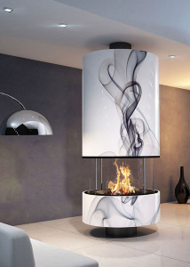 IRENA 910 Volutes   central fireplace with glasses